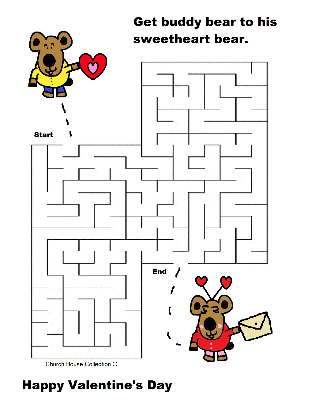 valentine day mazes coloring pages - photo#22